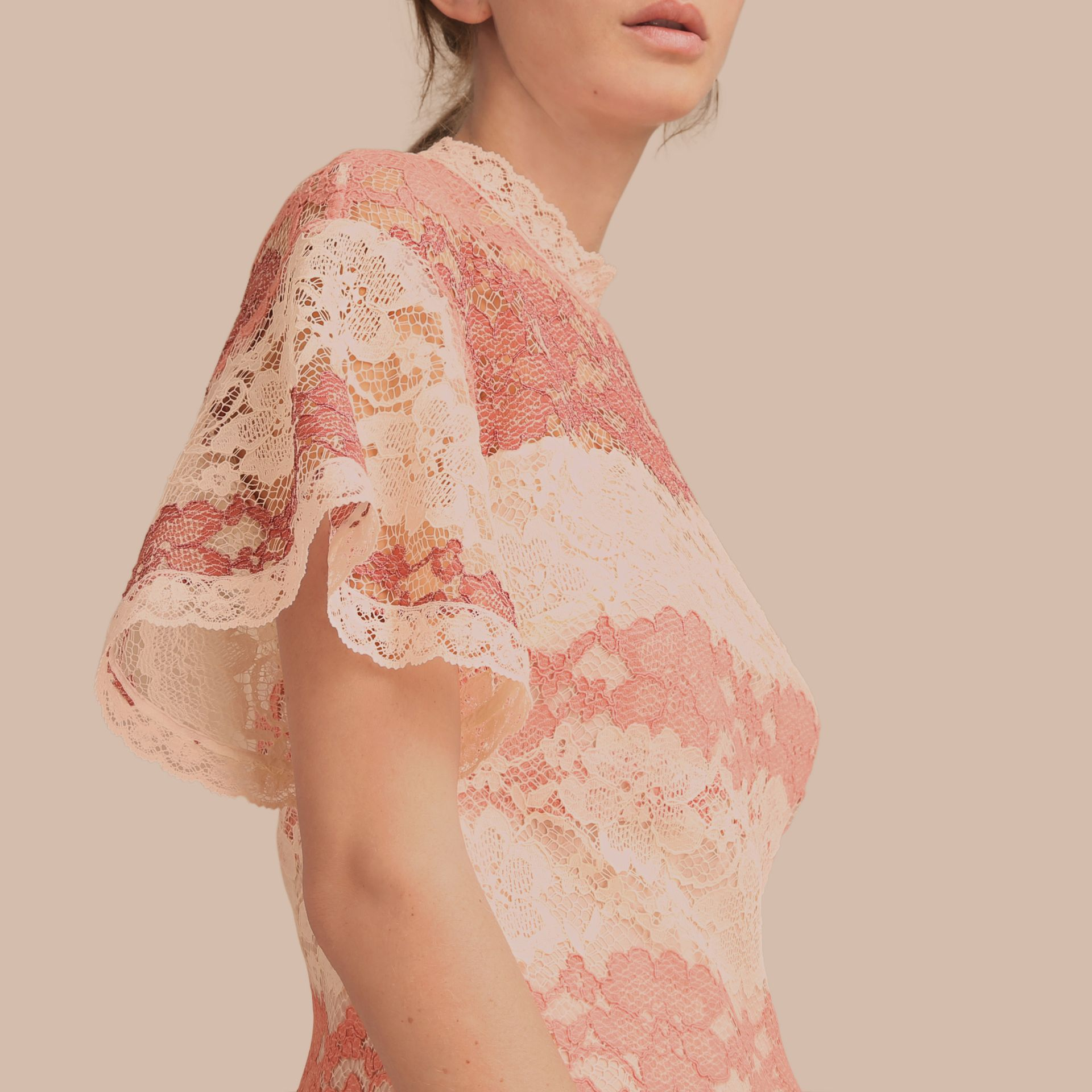 Floral Lace Dress with Flutter Sleeves Dusty Pink - gallery image 5