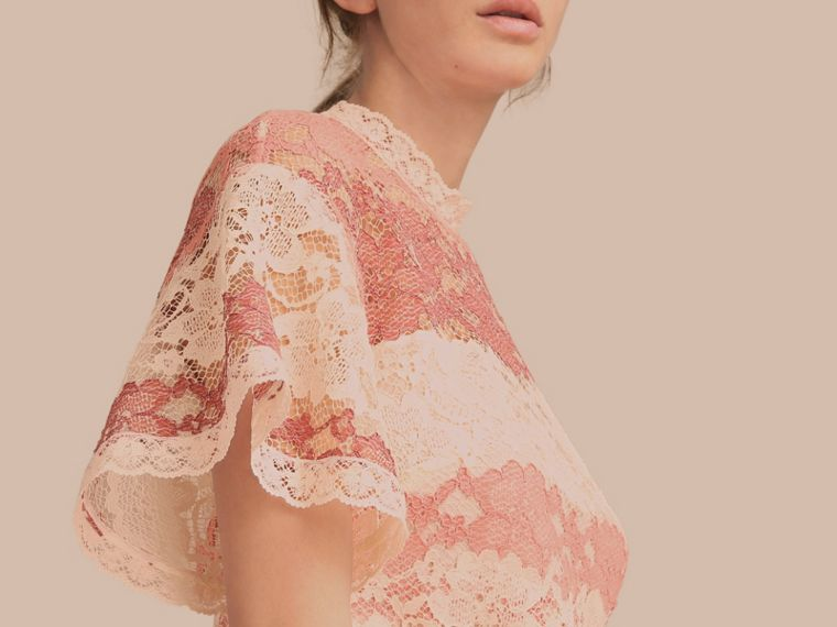 Floral Lace Dress with Flutter Sleeves Dusty Pink - cell image 4