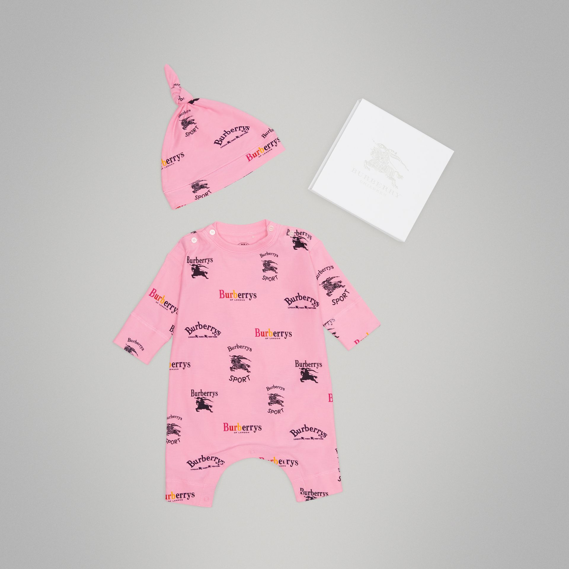 Archive Logo Two-piece Baby Gift Set in Neon Pink - Children | Burberry - gallery image 0
