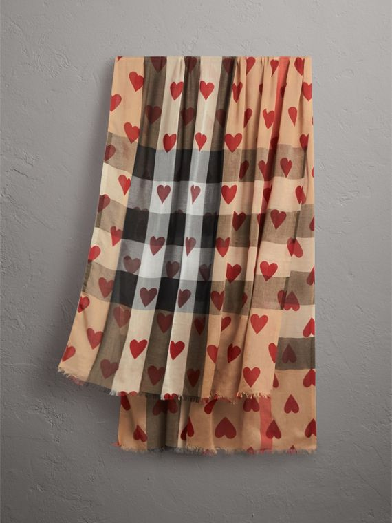Heart and Check Modal and Cashmere Scarf in Camel/red