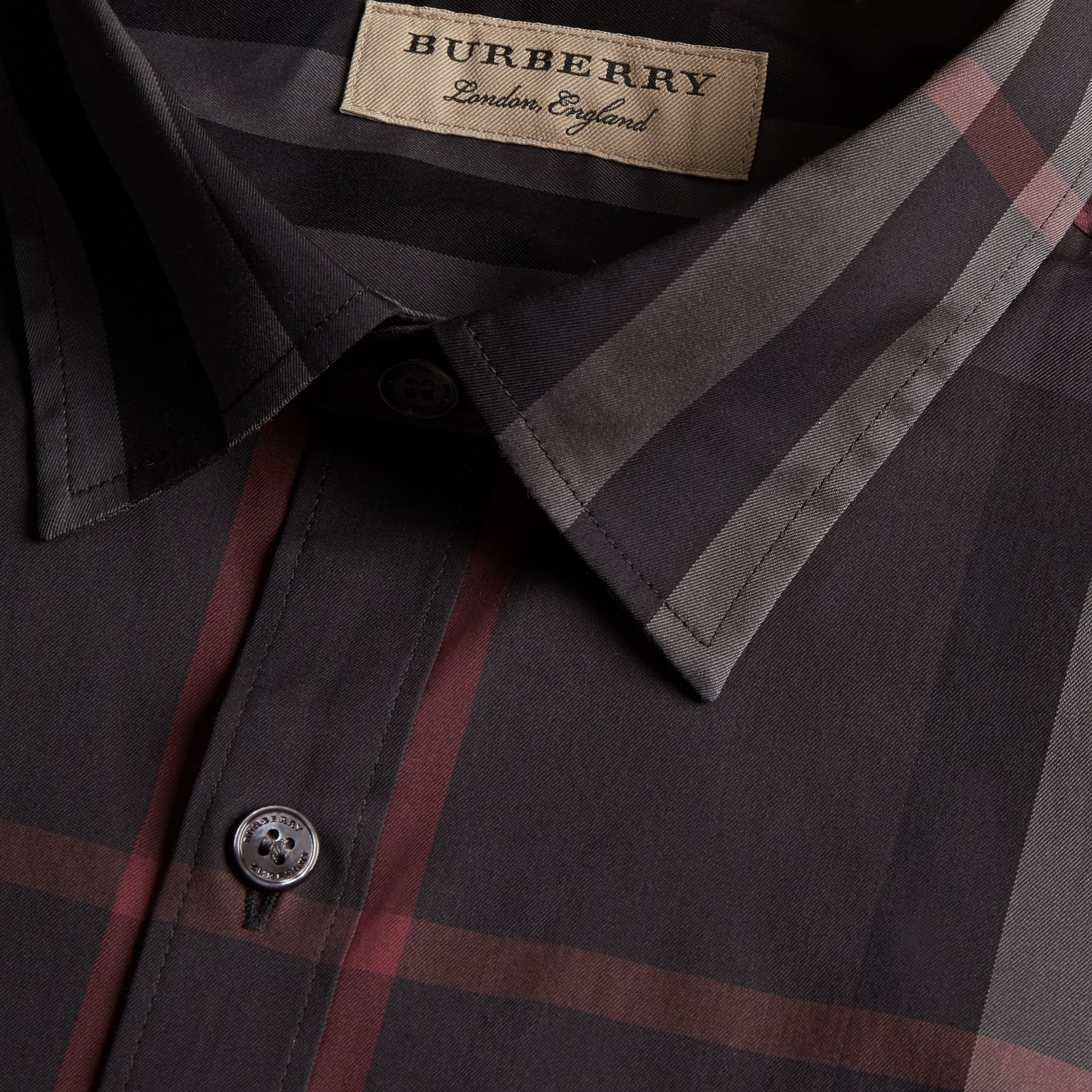 Check Stretch Cotton Shirt in Dark Charcoal - Men | Burberry - gallery image 2