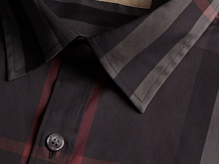 Check Stretch Cotton Shirt in Dark Charcoal - Men | Burberry - cell image 1