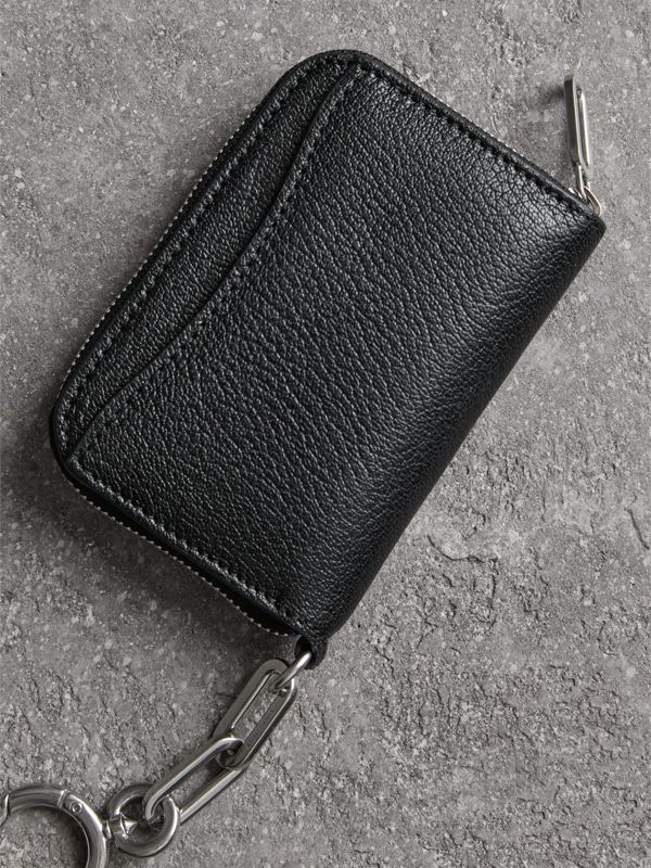 Link Detail Leather Ziparound Wallet in Black - Women | Burberry Australia - cell image 2
