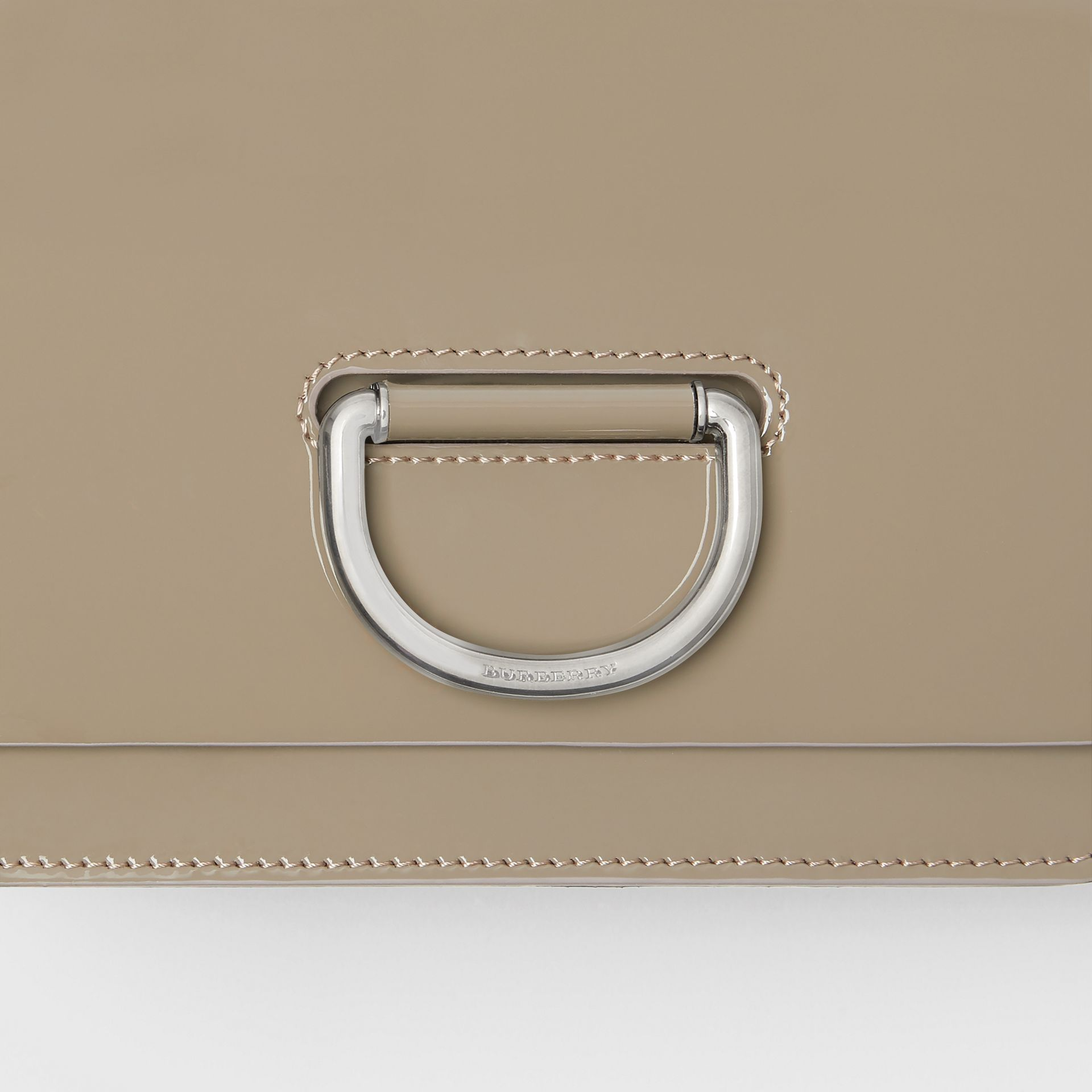 The Small Patent Leather D-ring Bag in Taupe Grey - Women | Burberry - gallery image 1
