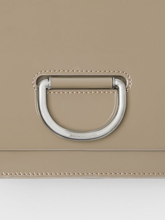 The Small Patent Leather D-ring Bag in Taupe Grey - Women | Burberry United Kingdom - cell image 1