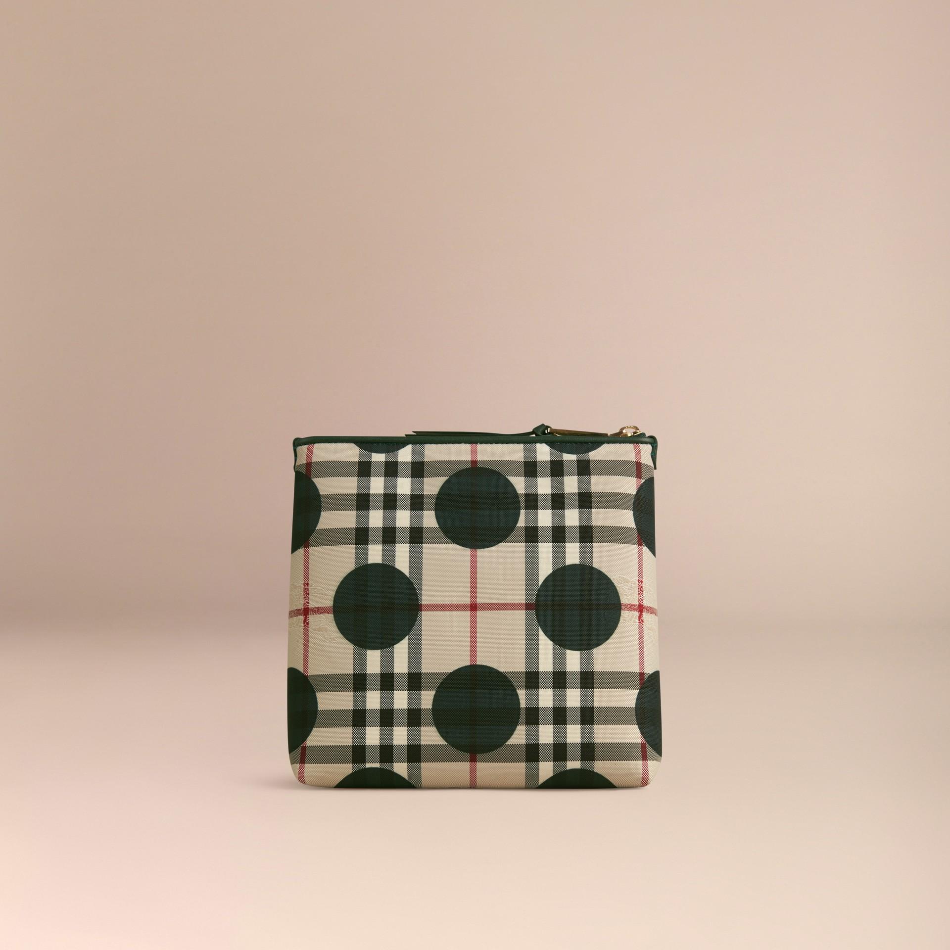 Vert forêt sombre Grande pochette à motif check et à pois bordée de cuir Vert Forêt Sombre - photo de la galerie 4