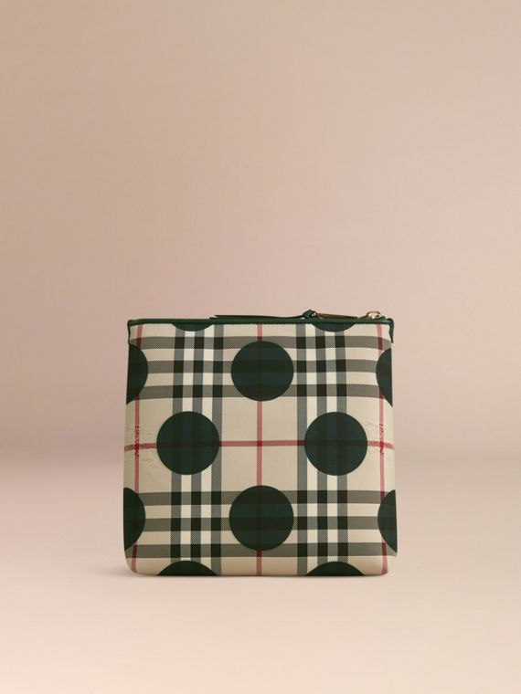 Dark forest green Large Leather Trim Check and Dot Pouch Dark Forest Green - cell image 3