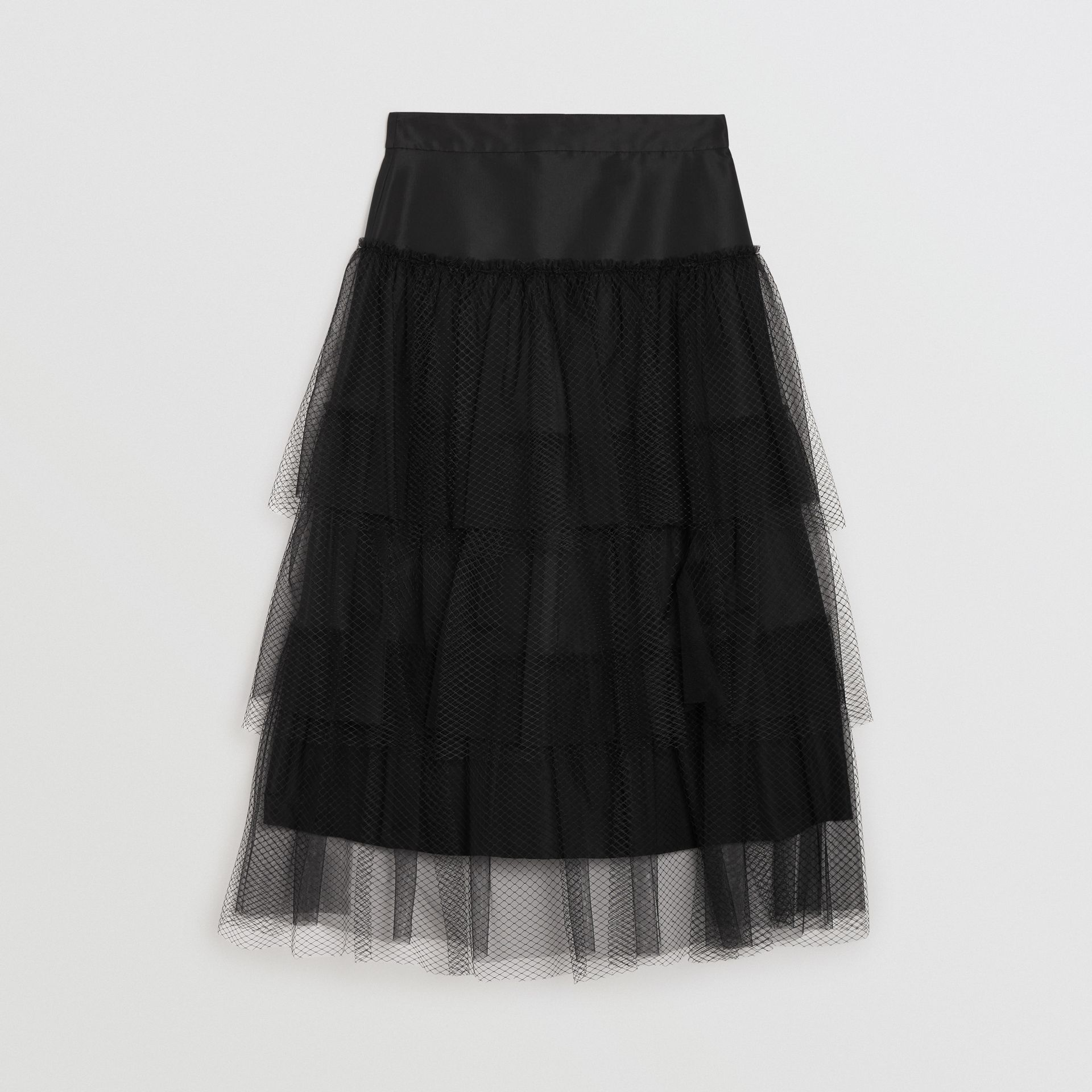 Tiered Tulle A-line Skirt in Black - Women | Burberry - gallery image 3
