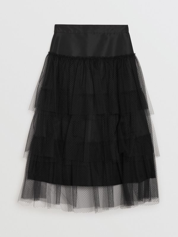 Tiered Tulle A-line Skirt in Black - Women | Burberry - cell image 3