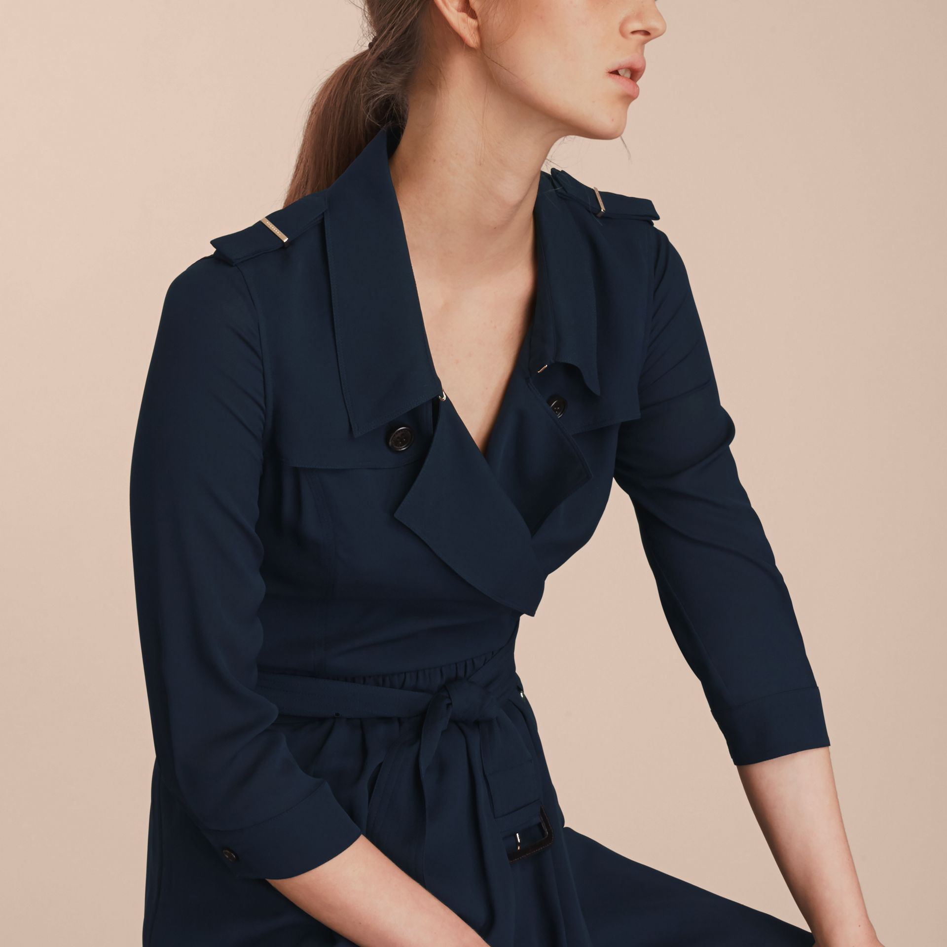 Silk Trench Dress Navy - gallery image 5