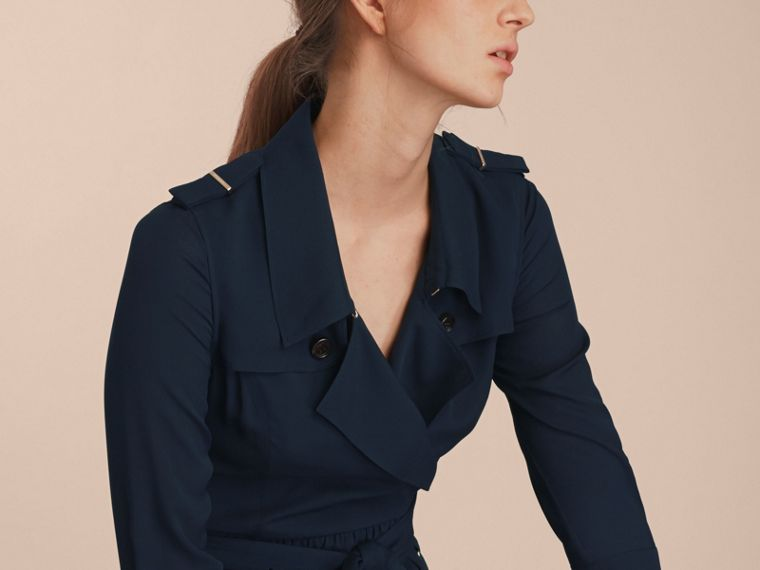Silk Trench Dress Navy - cell image 4
