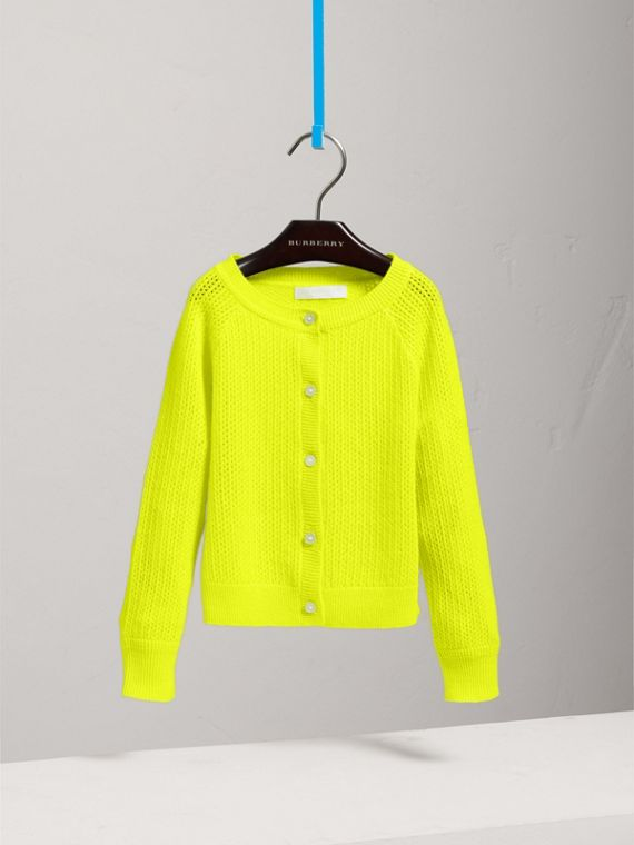 Open-stitch Knitted Cashmere Cardigan in Neon Yellow