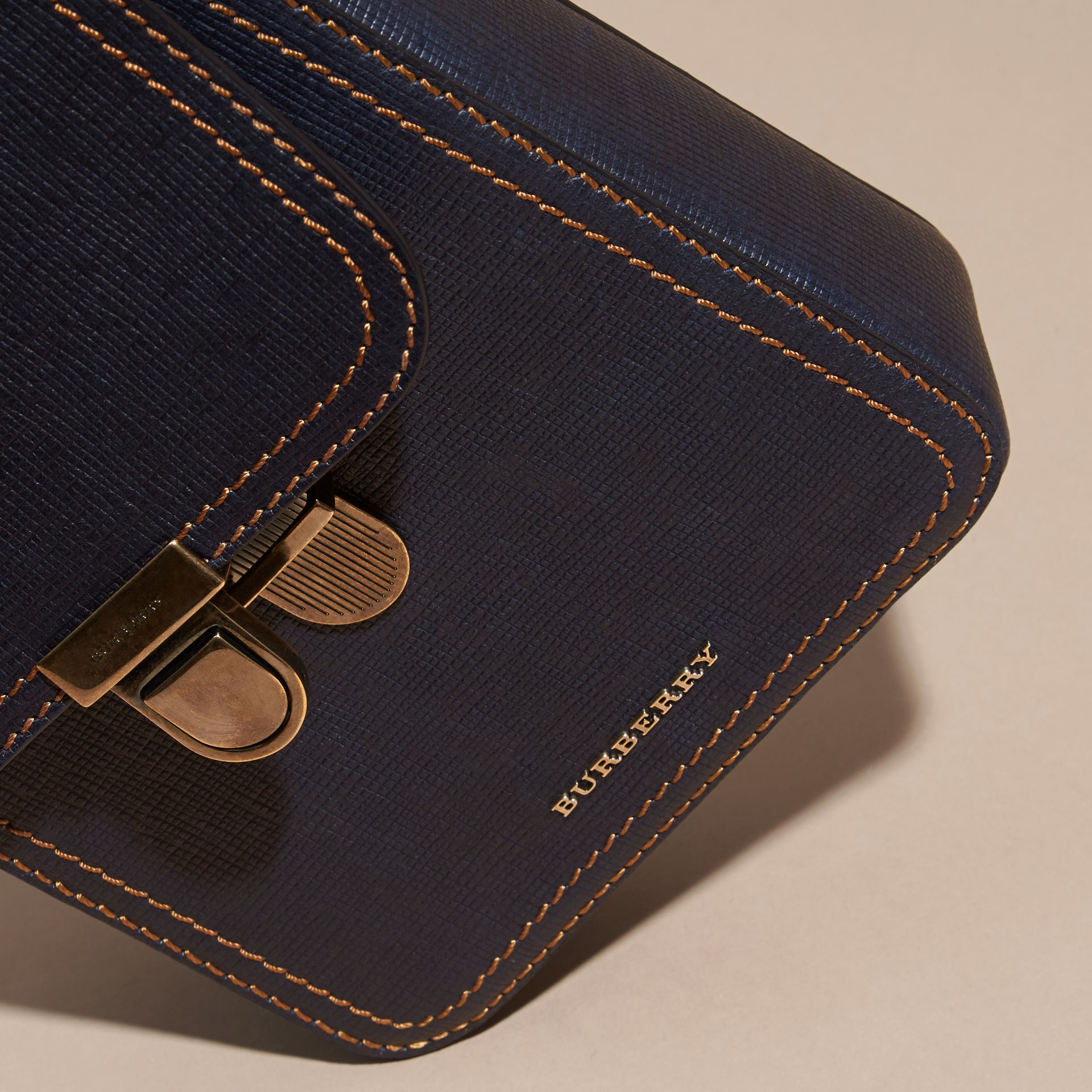 Dark navy The Small Satchel in Textured Leather - gallery image 2