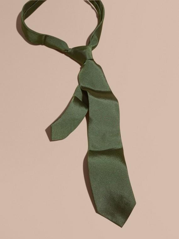 Modern Cut Silk Twill Tie Dark Forest Green