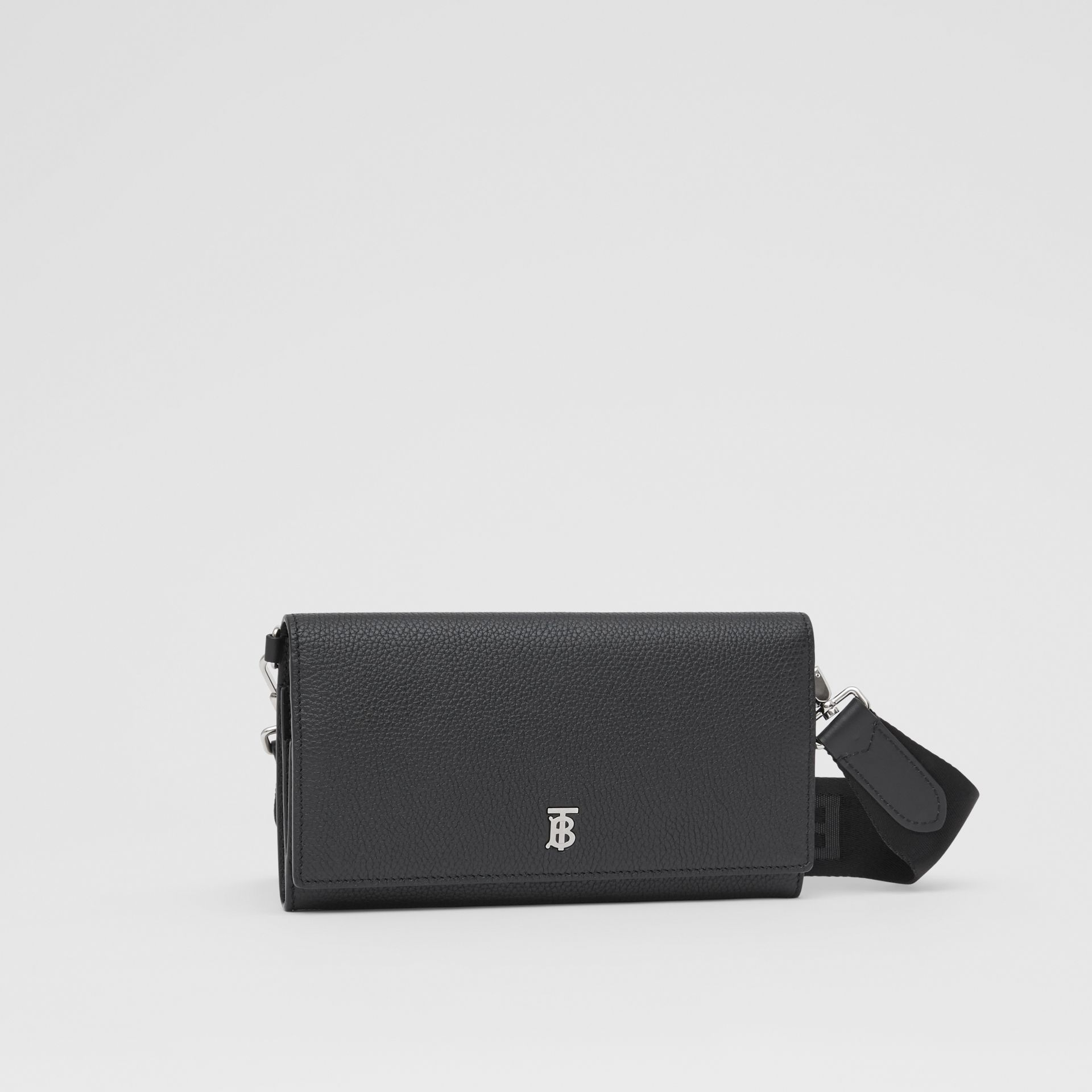 Grainy Leather Wallet with Detachable Strap in Black | Burberry United States - gallery image 8
