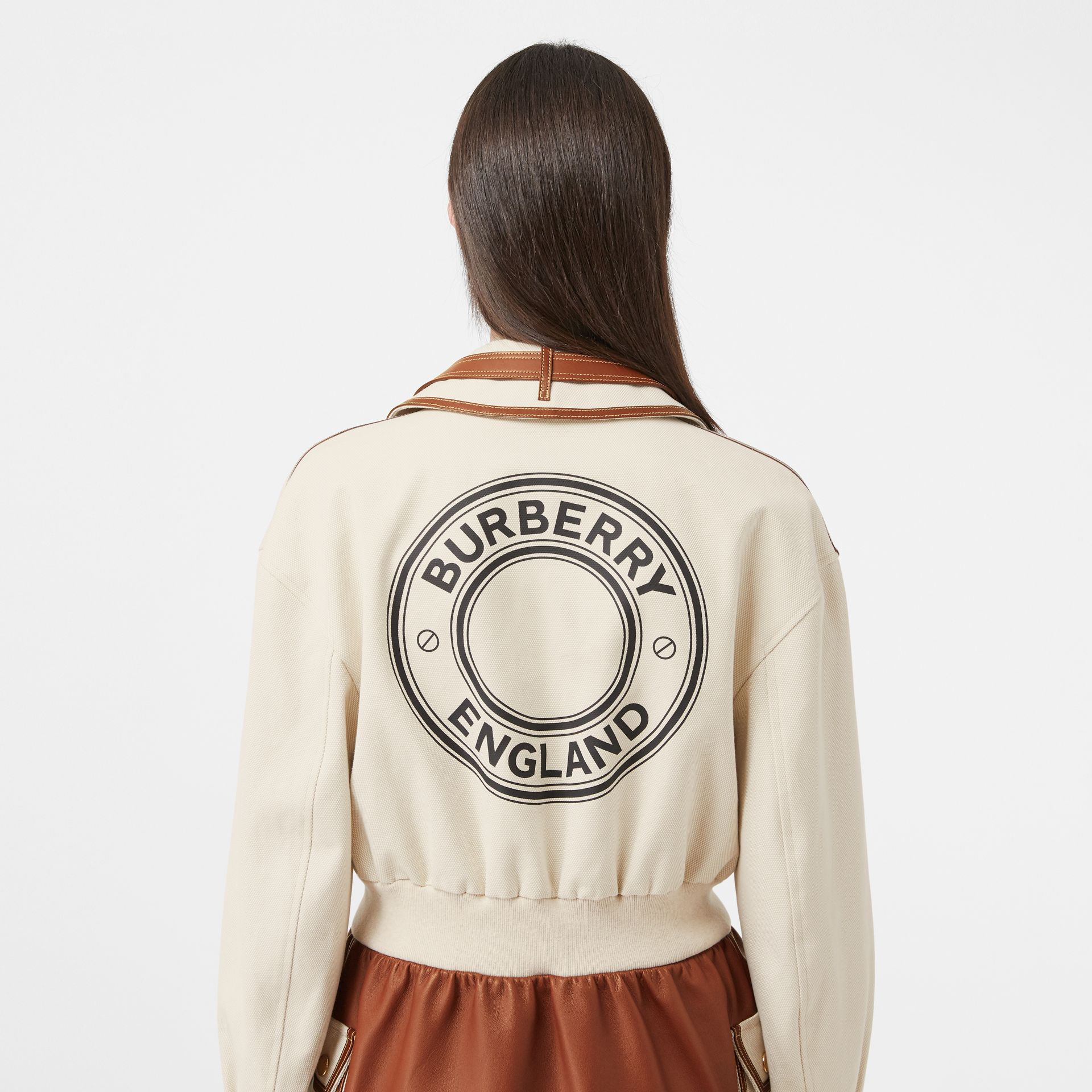 Logo Graphic Cotton and Lambskin Riding Jacket in Vanilla - Women | Burberry - gallery image 5