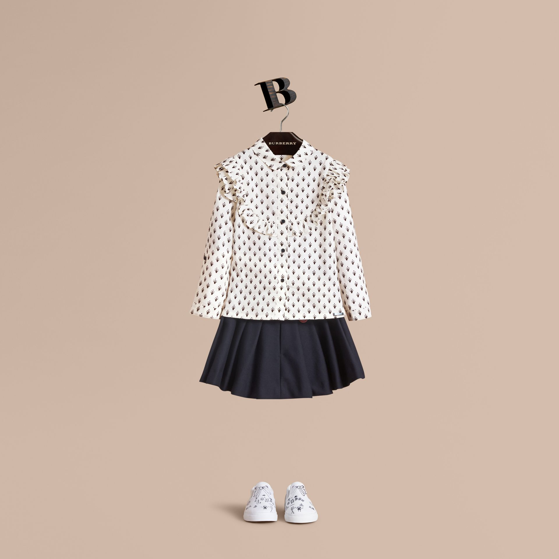 Frill Detail Flocked Cotton Shirt - Girl | Burberry - gallery image 1