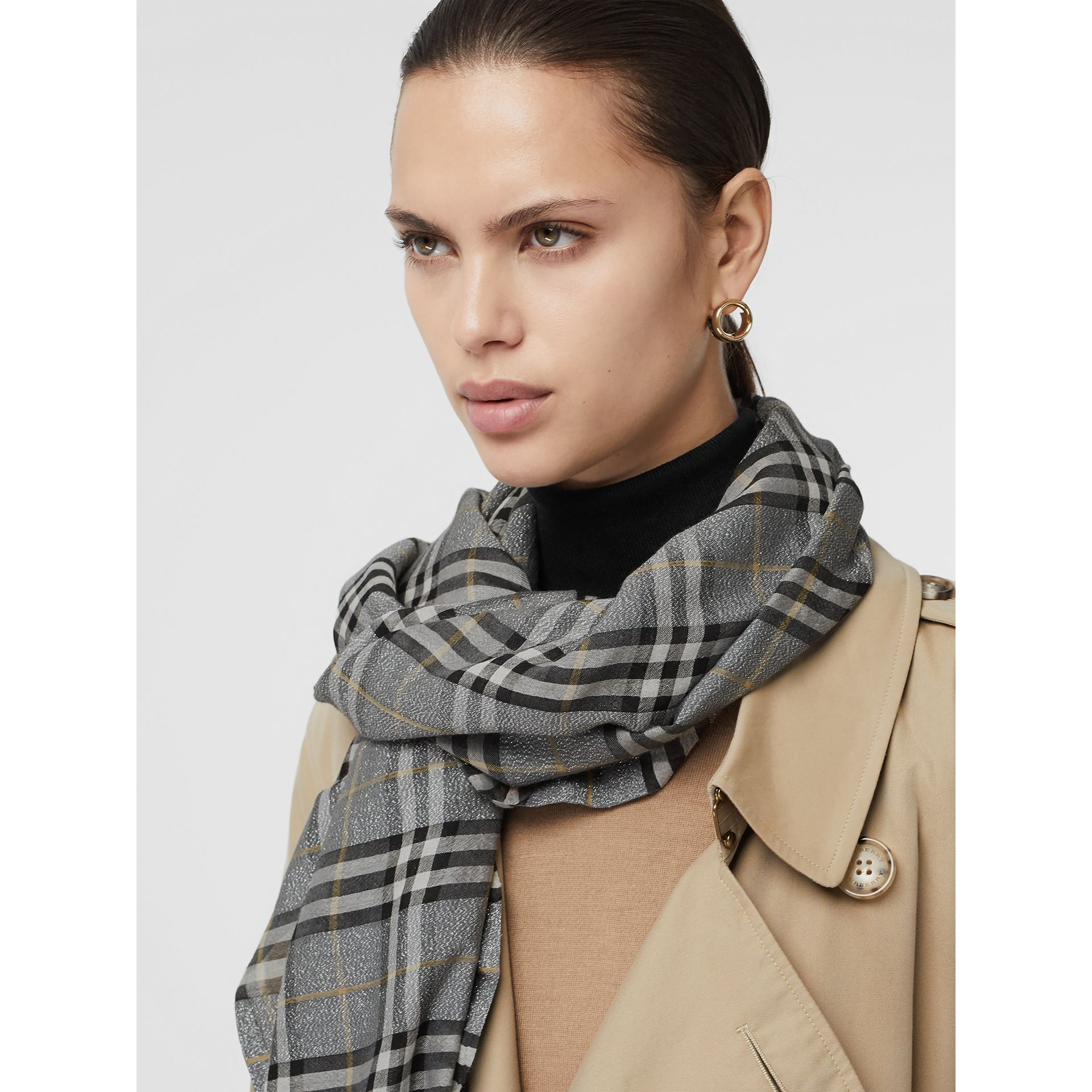Metallic Vintage Check Wool Silk Blend Scarf in Pewter Grey | Burberry United Kingdom - gallery image 4