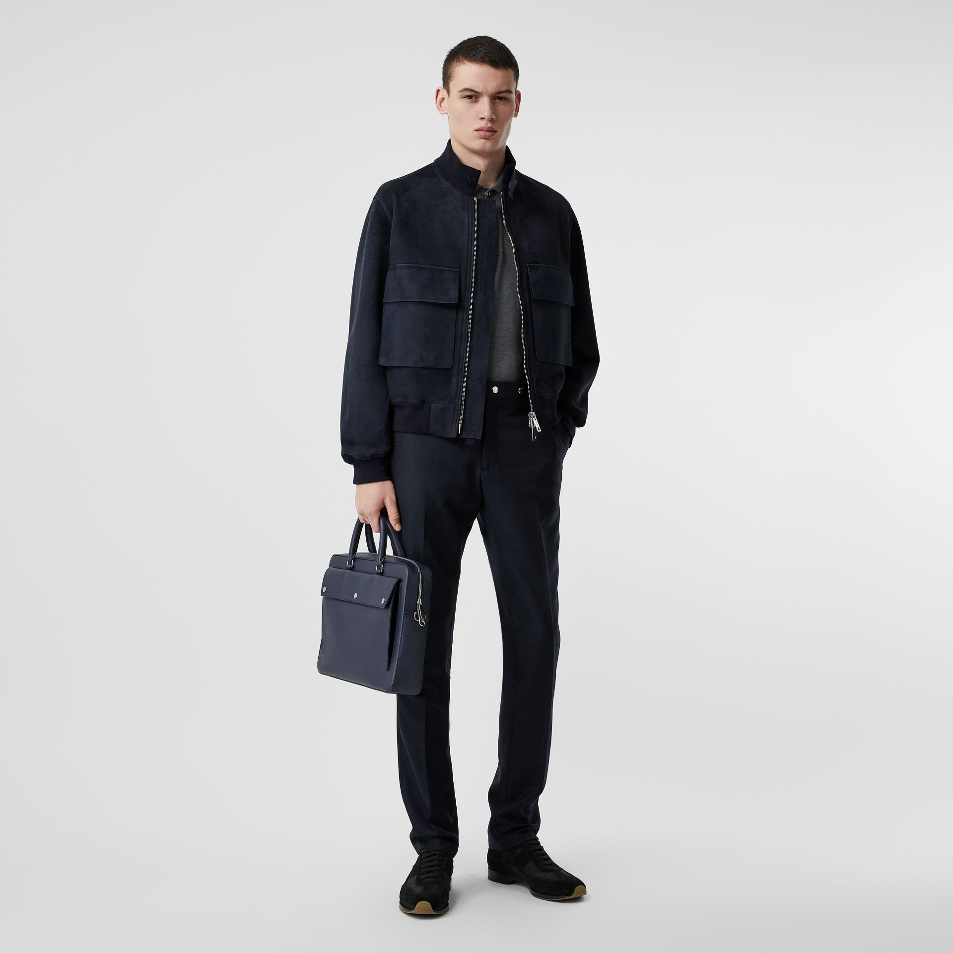 Bonded Suede Bomber Jacket in Navy/dark Brown - Men | Burberry Australia - gallery image 0