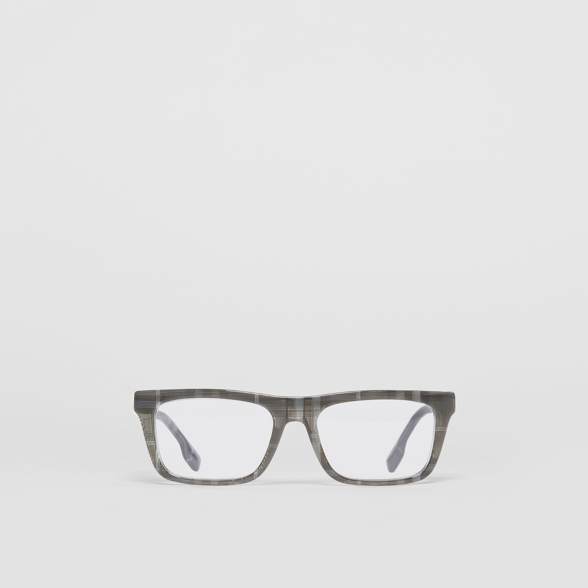 Vintage Check Rectangular Optical Frames in Charcoal Black - Men | Burberry Canada - gallery image 0