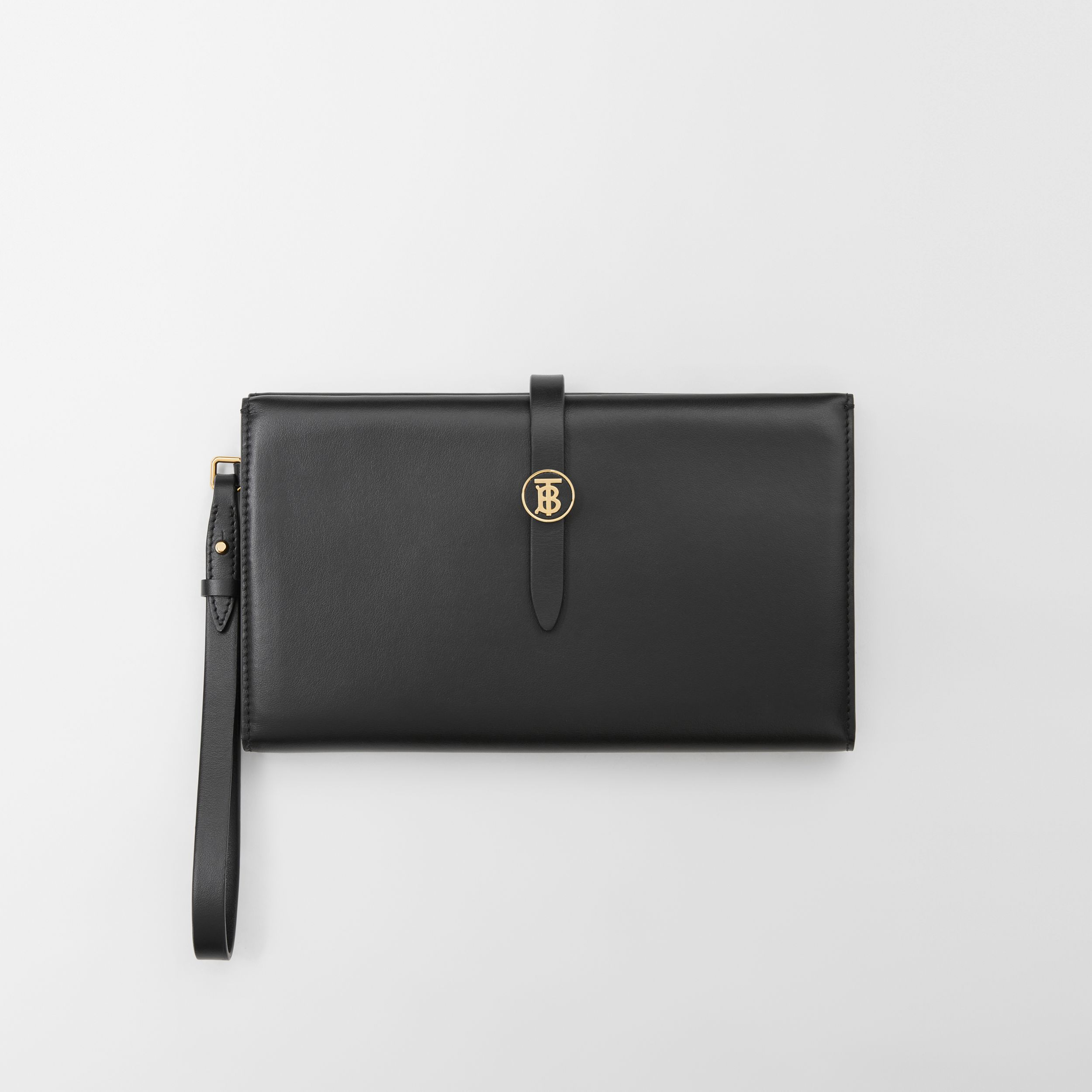Large Monogram Motif Leather Folding Wallet in Black - Women | Burberry Hong Kong S.A.R. - 3