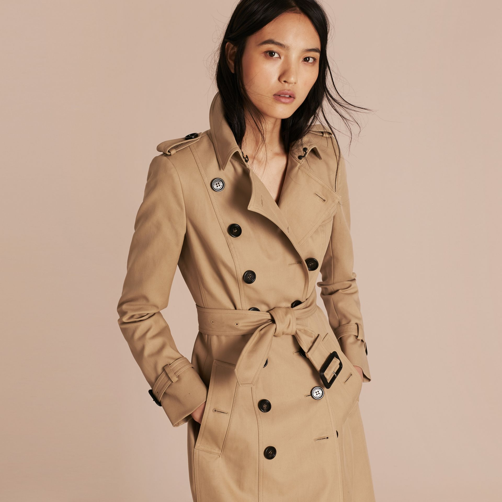 Honey Cotton Gabardine Trench Coat Honey - gallery image 7