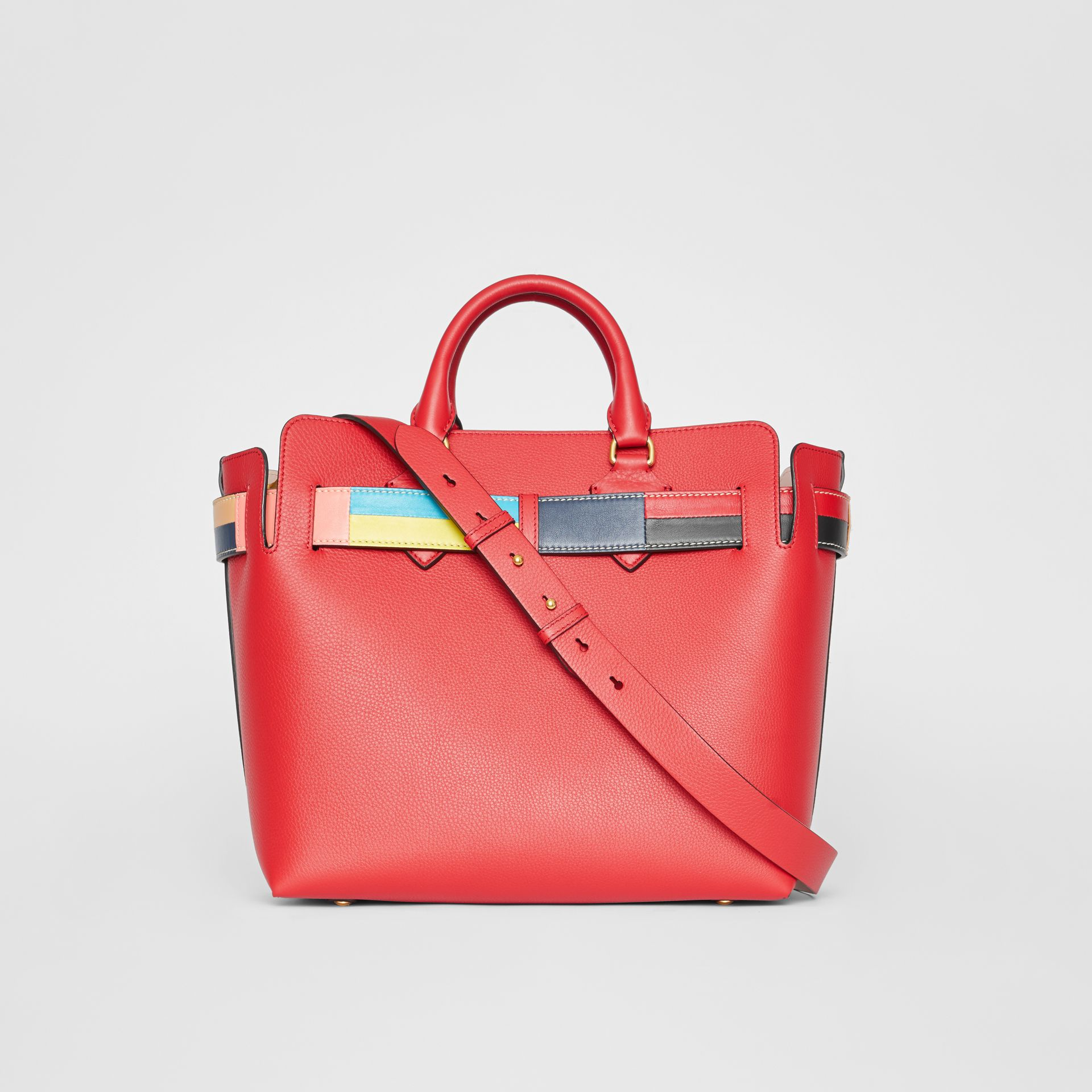 The Medium Leather Colour Block Detail Belt Bag in Bright Crimson Pink - Women | Burberry - gallery image 7