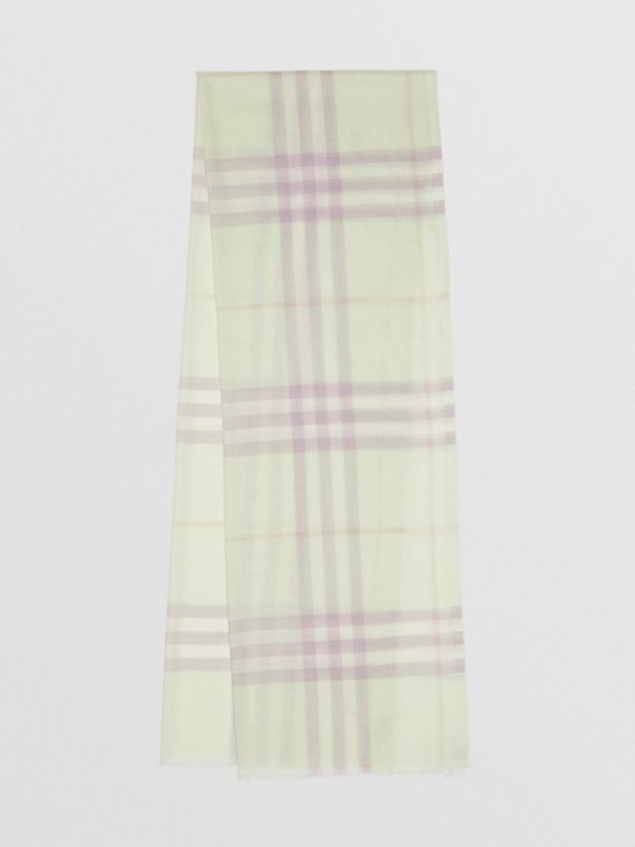 Lightweight Check Wool and Silk Scarf in Limestone
