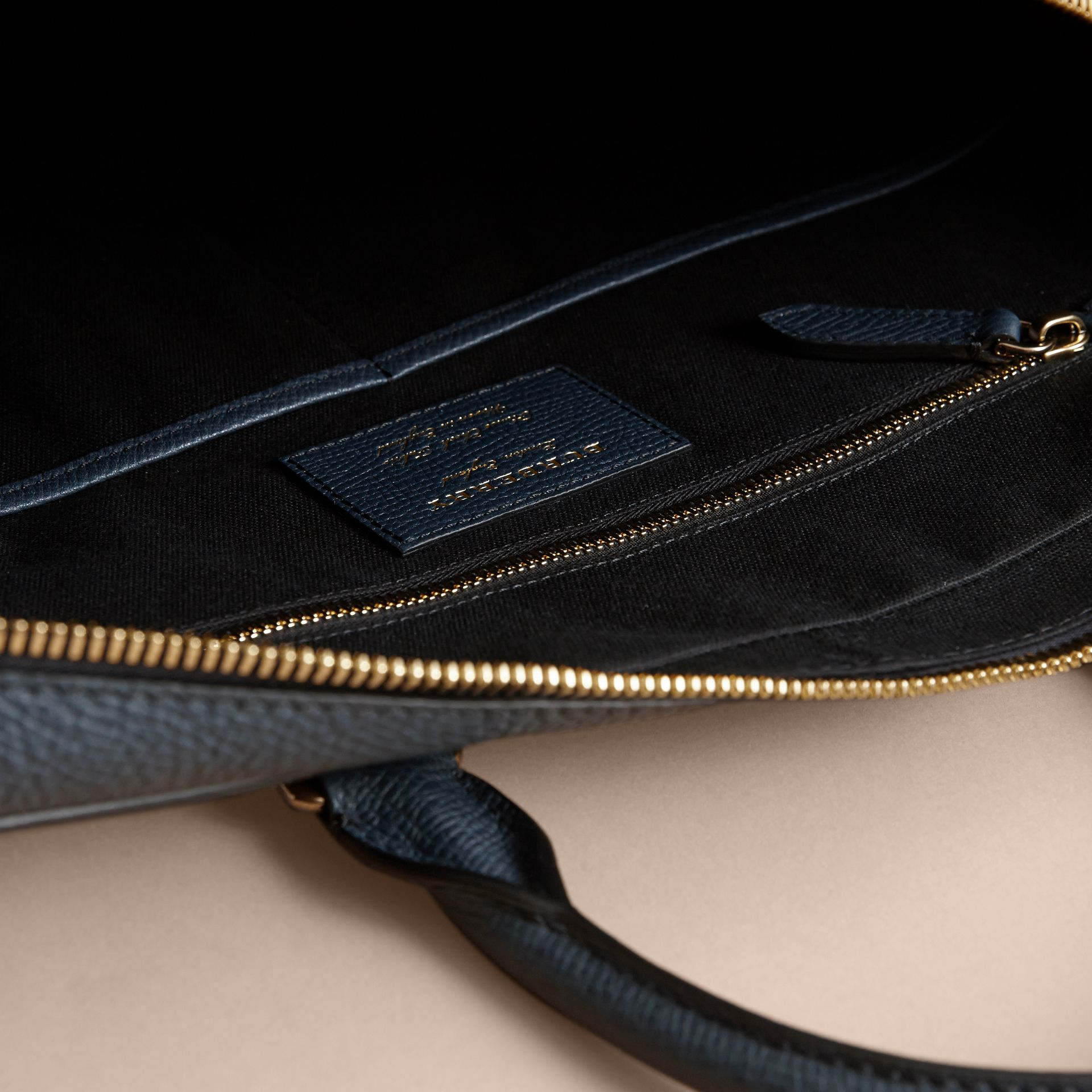 Leather and House Check Briefcase in Storm Blue - Men | Burberry Australia - gallery image 6