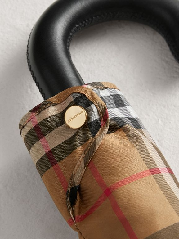 Vintage Check Folding Umbrella in Antique Yellow/black | Burberry - cell image 1