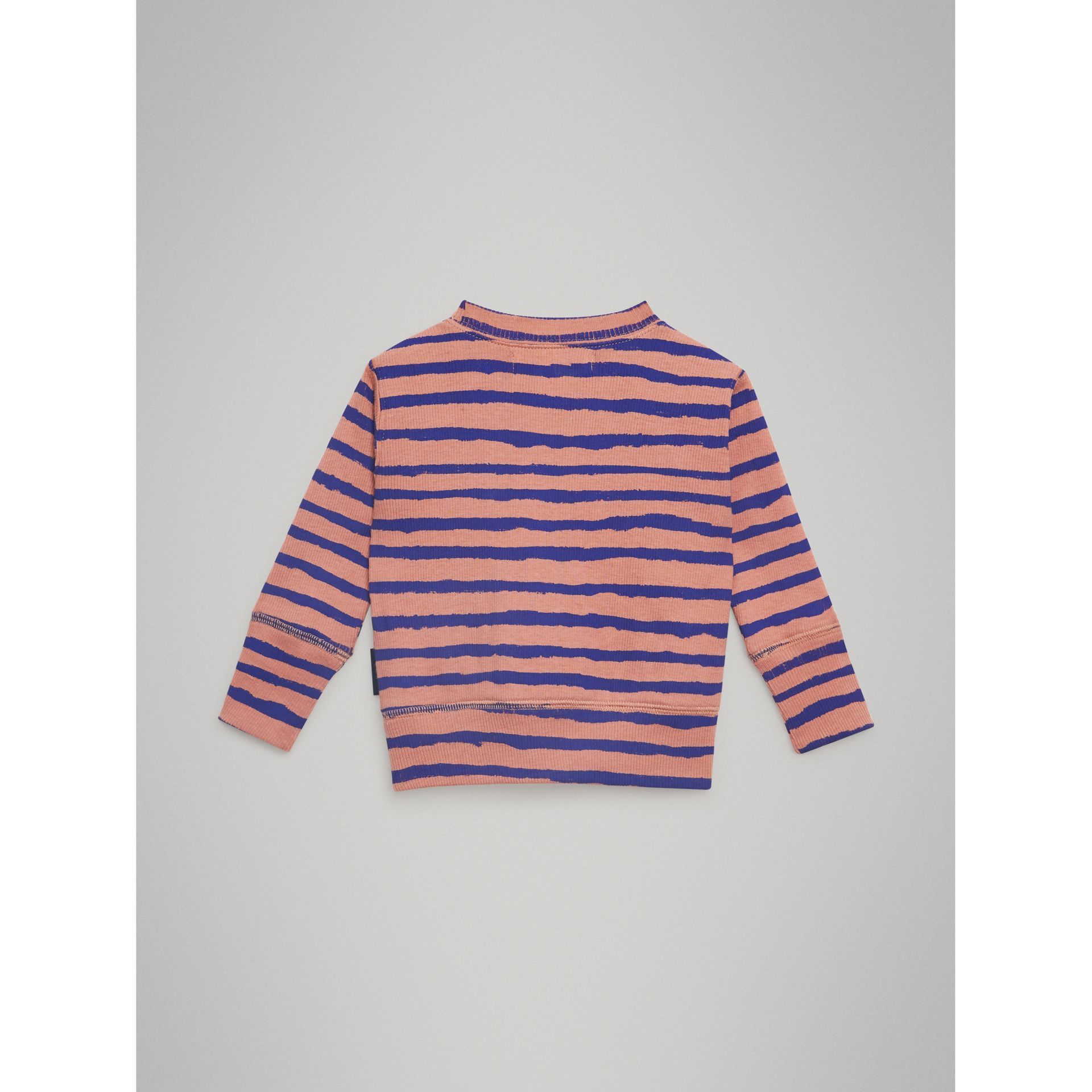 Striped Rib Knit Cotton Sweatshirt in Dusty Pink - Children | Burberry - gallery image 3