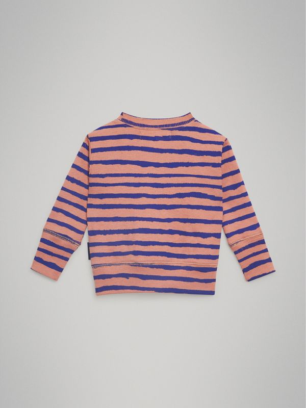 Striped Rib Knit Cotton Sweatshirt in Dusty Pink - Children | Burberry - cell image 3