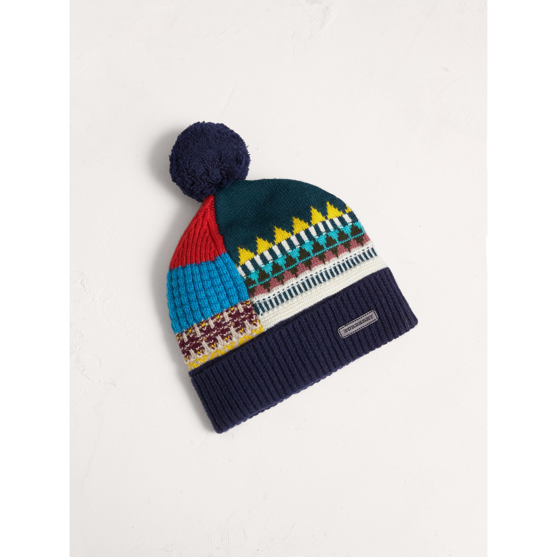 Fair Isle Wool Cashmere Pom-pom Beanie in Navy - Girl | Burberry United Kingdom - gallery image 0