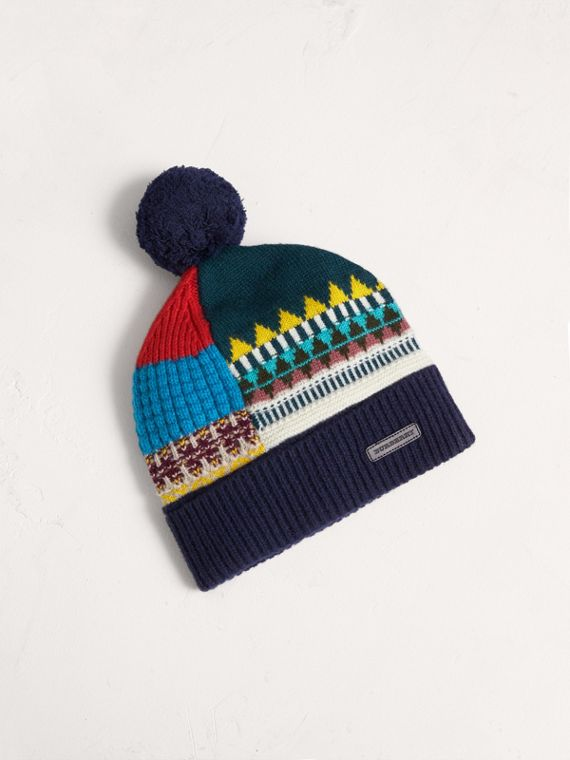 Fair Isle Wool Cashmere Pom-pom Beanie in Navy