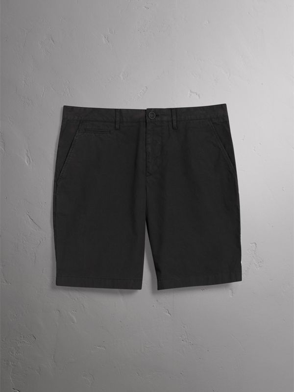 Cotton Poplin Chino Shorts in Black - Men | Burberry United States - cell image 3