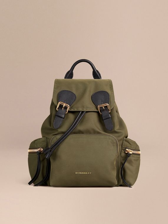 Canvas green The Medium Rucksack in Technical Nylon and Leather Canvas Green - cell image 2