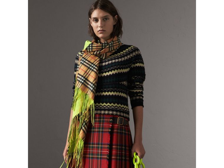 The Burberry Bandana in Vintage Check and Neon Cashmere in Bright Lemon | Burberry United Kingdom - cell image 4
