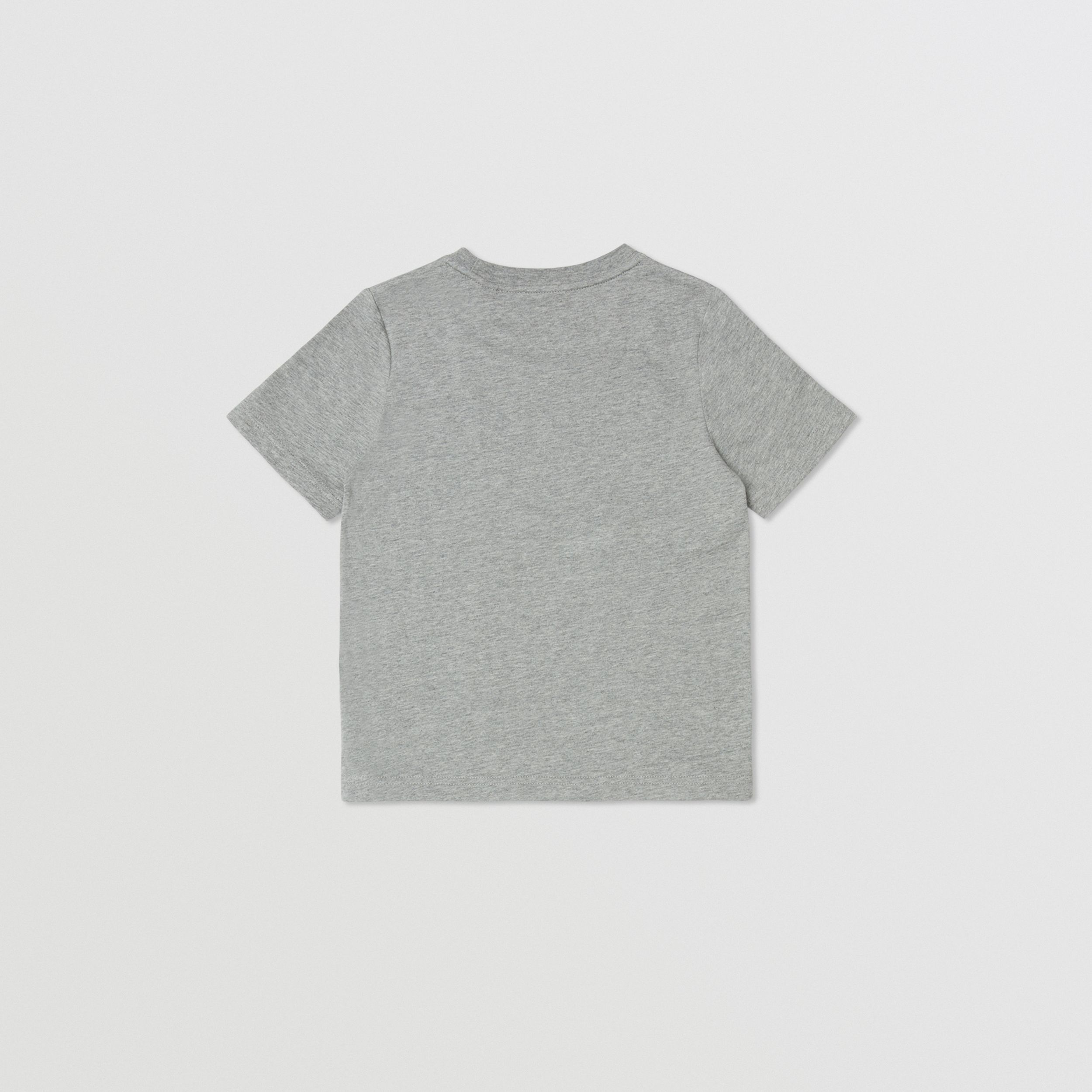 Coordinates Print Cotton T-shirt in Grey Melange | Burberry - 3