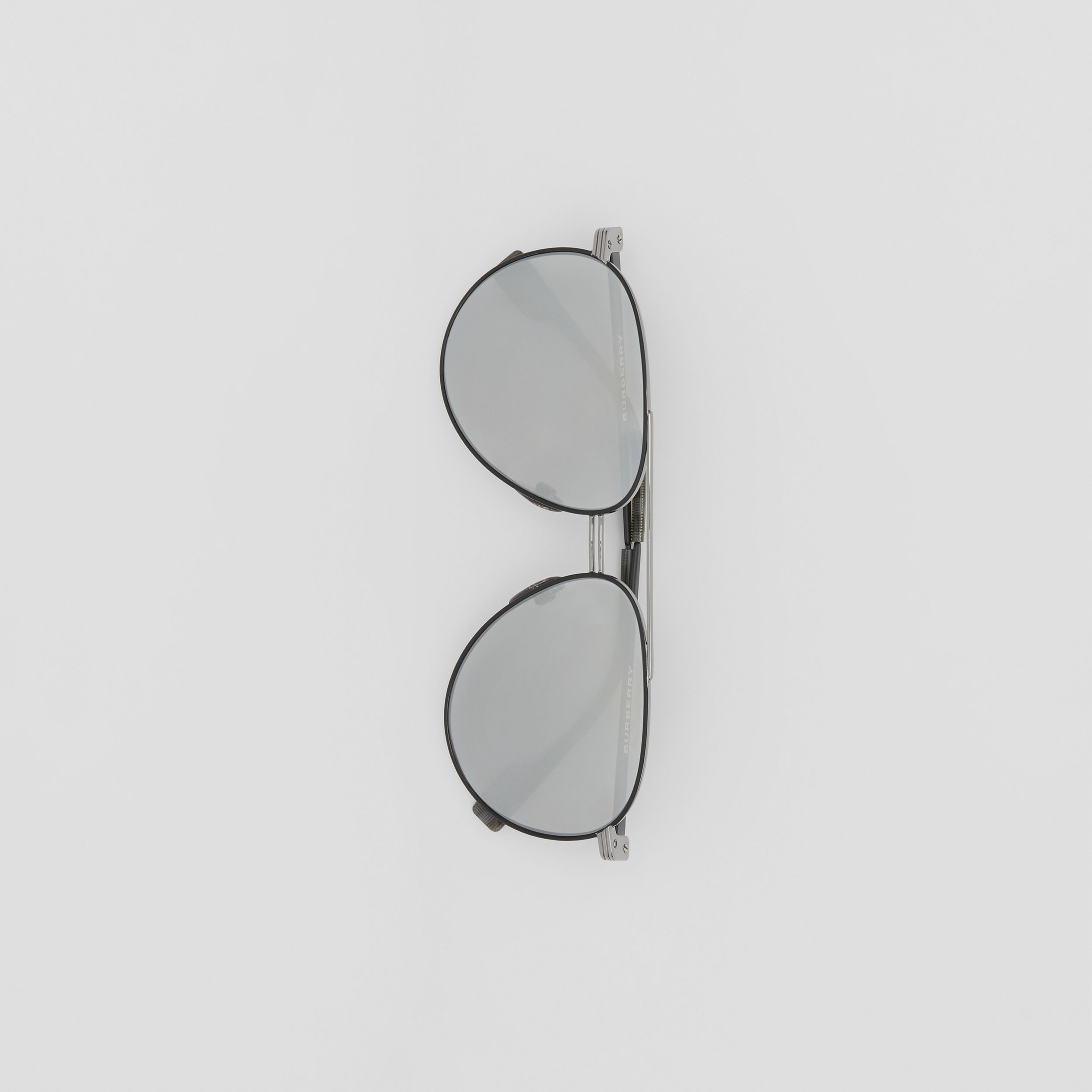 Top Bar Detail Pilot Sunglasses in Gunmetal/black - Men | Burberry - 4