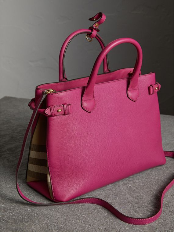 The Medium Banner aus Leder und House Check-Gewebe (Glänzendes Fuchsia) - Damen | Burberry - cell image 3
