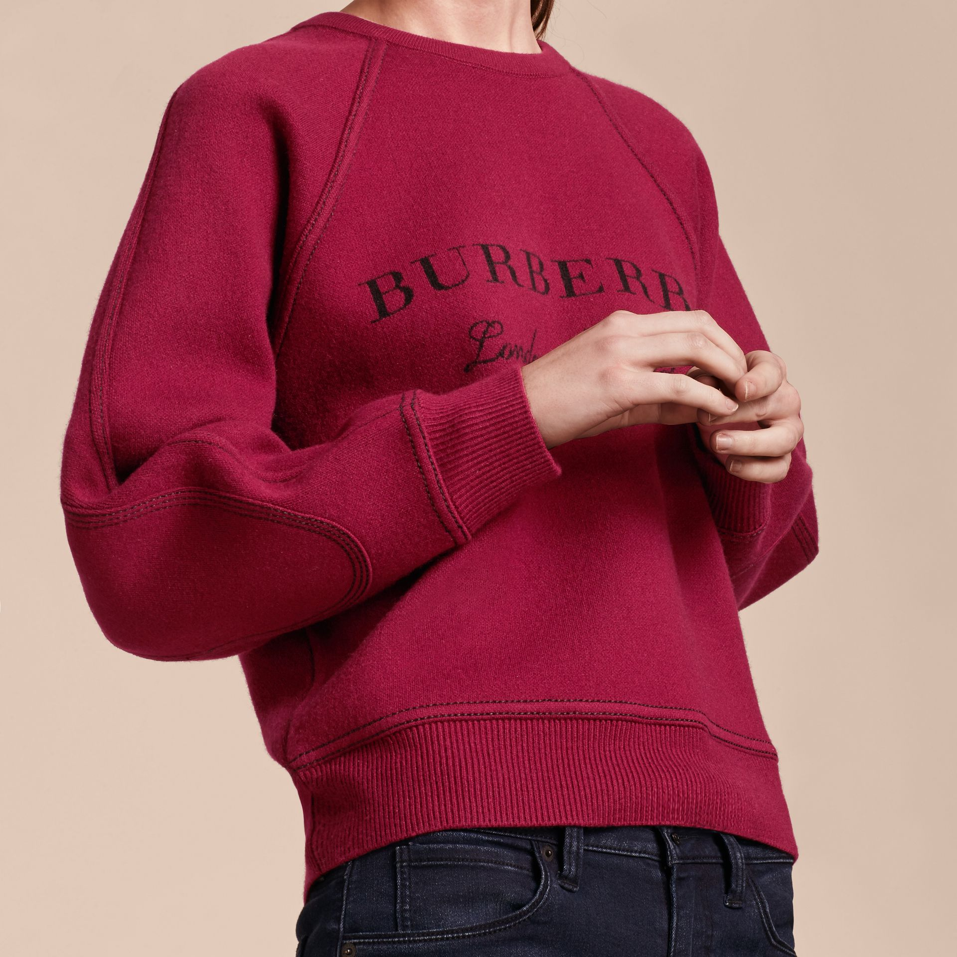 Topstitch Detail Wool Cashmere Blend Sweatshirt Burgundy - gallery image 5
