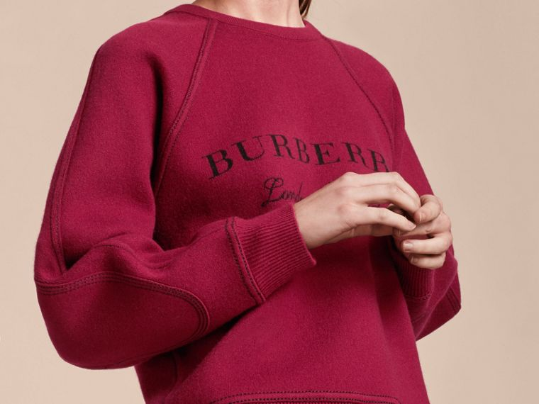 Topstitch Detail Wool Cashmere Blend Sweatshirt Burgundy - cell image 4