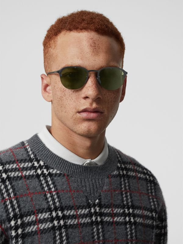 Round Frame Sunglasses in Green - Men | Burberry - cell image 2