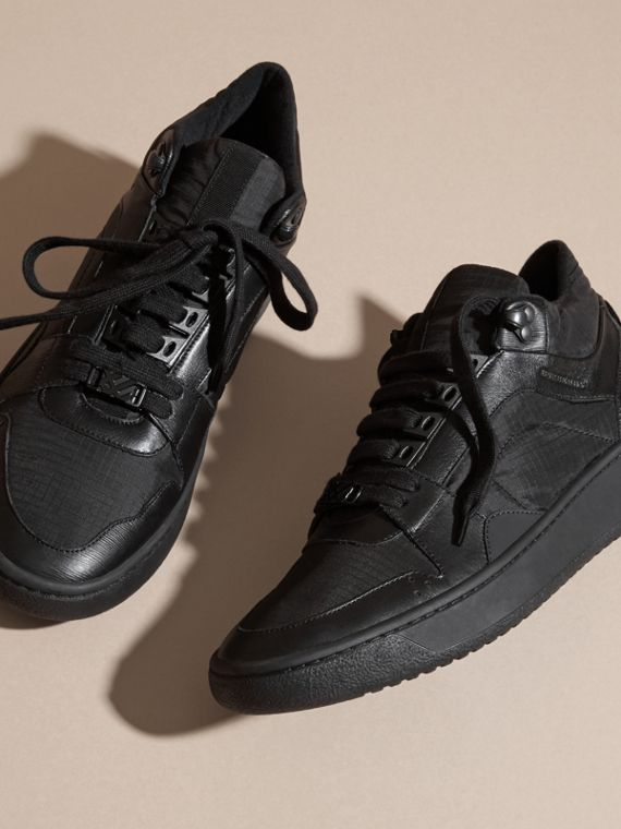 Black Ripstop and Leather Trainers - cell image 2