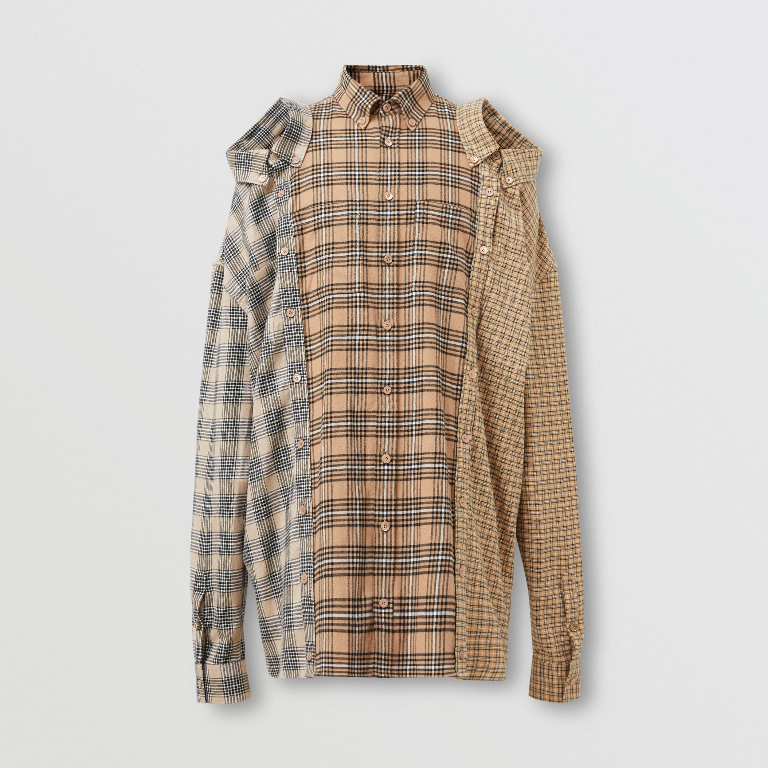 Contrast Check Cotton Flannel Reconstructed Shirt in Camel | Burberry - 4