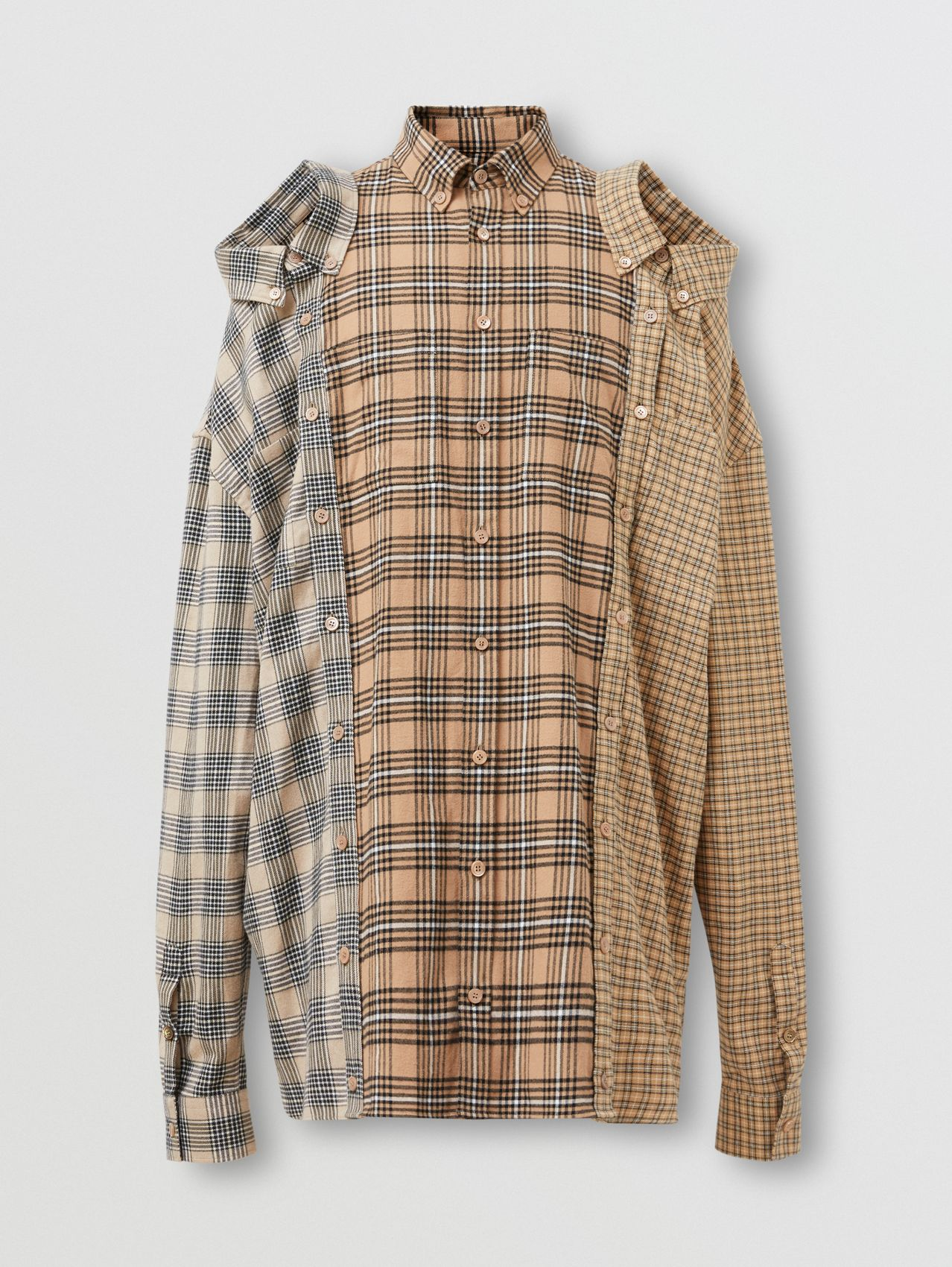 Contrast Check Cotton Flannel Reconstructed Shirt in Camel