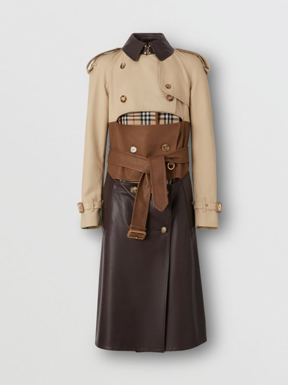 Deconstructed Cotton and Lambskin Trench Coat in Honey