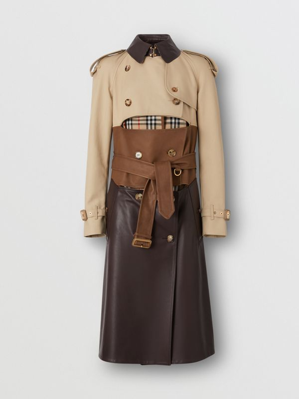 Deconstructed Cotton and Lambskin Trench Coat in Honey - Women | Burberry - cell image 3