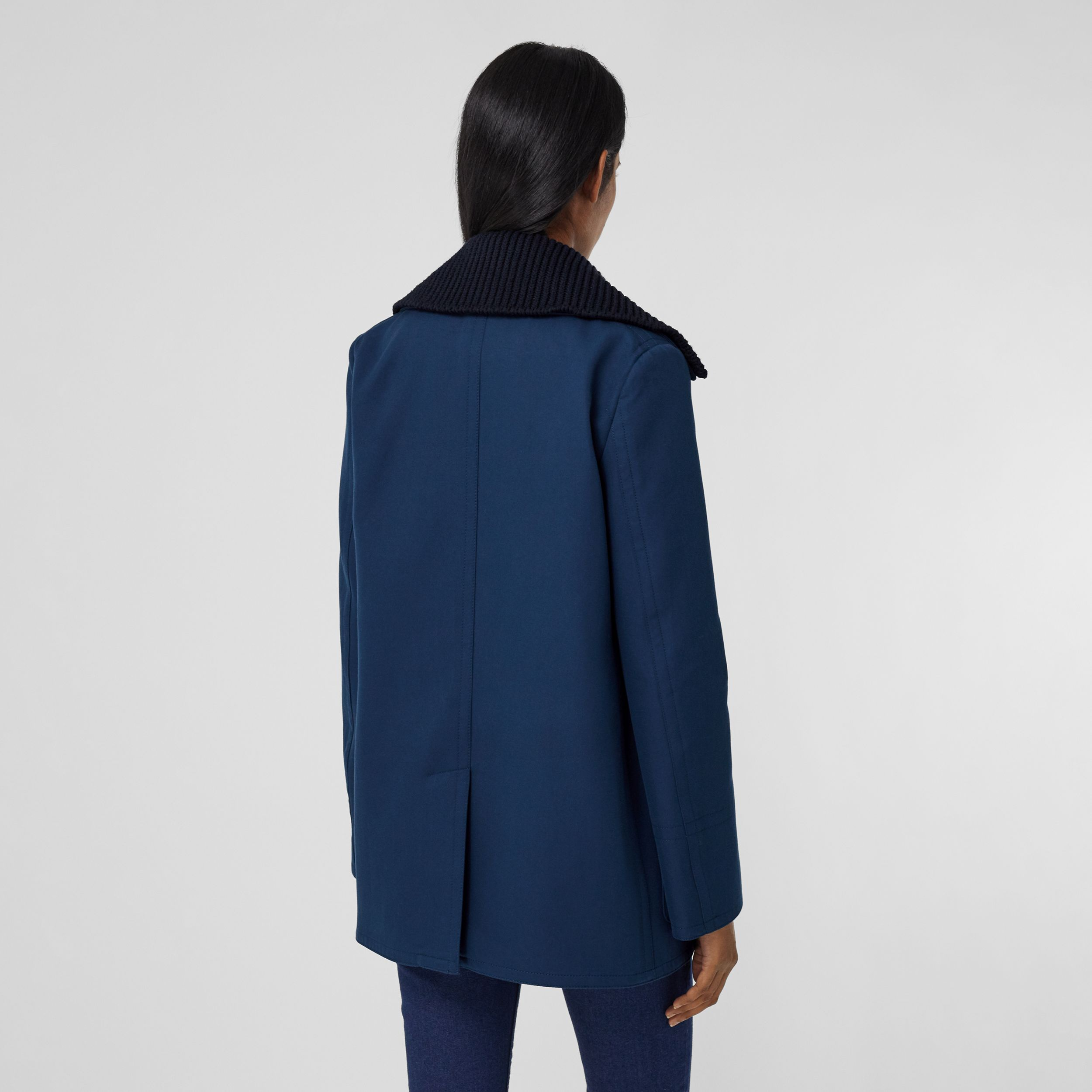Detachable Rib Knit Collar Cotton Pea Coat in Ink Blue - Women | Burberry United Kingdom - 3