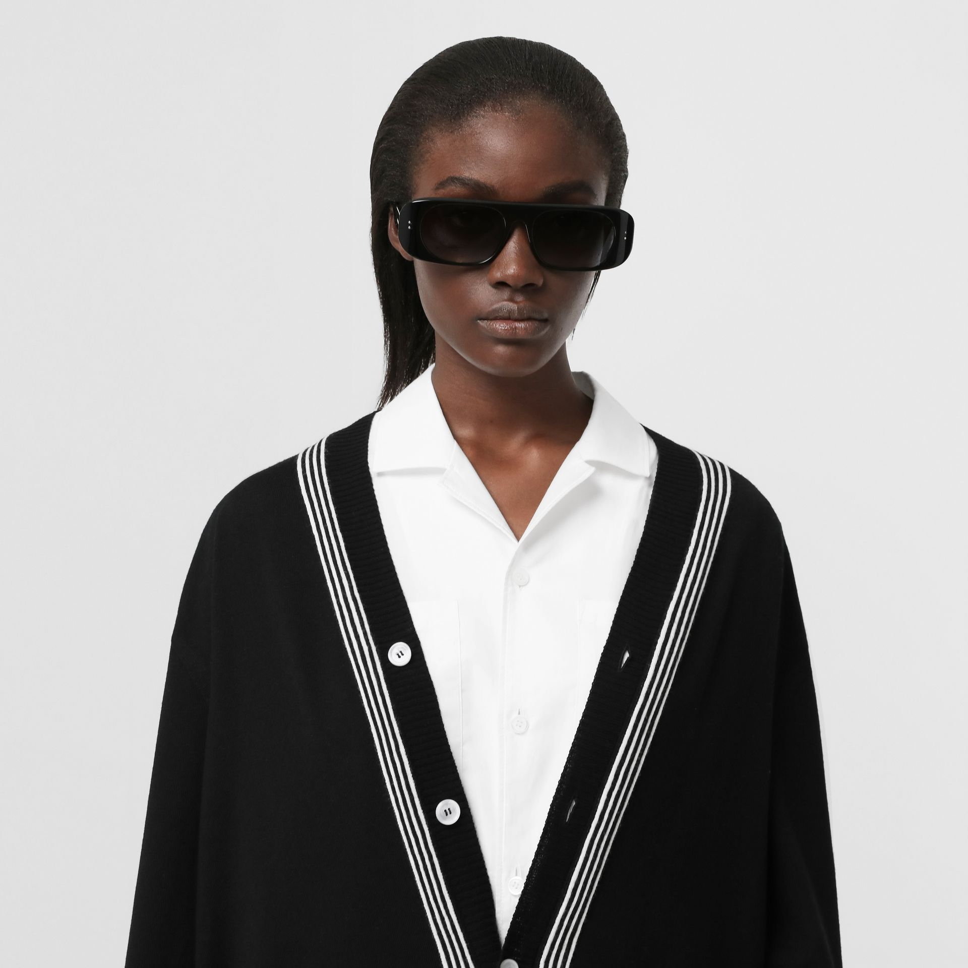 Wool Cardigan Detail Cotton Shirt in Black - Women | Burberry - gallery image 1